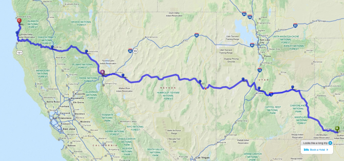 One possible route for the Tree Adventure Tour.  Durango to the Redwoods.