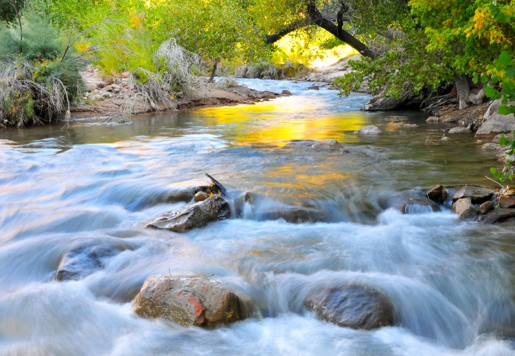"""Learn how to make water """"sing"""" along the Virgin River in Zion National Park. Let Kit Frost teach you to choose the right shutter speed©Kit Frost"""